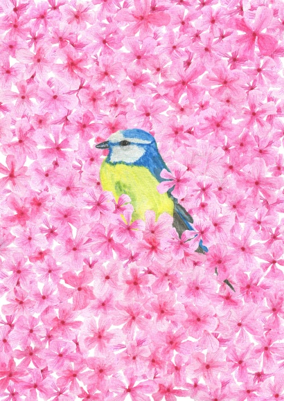 Bird between pink flowers